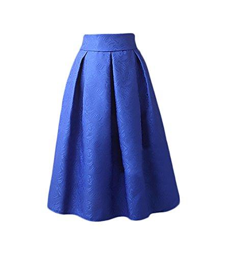 A Medio Jacquard Gonna Moda Donna Pieghe Nobile Ruota Sezione Blu Gonne Gonna Retro Ragazza 50 Anni Abbigliamento Eleganti Vintage Vita Lunga Gonna A Alta tCUyqCPw