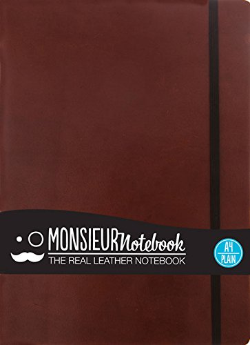 Monsieur Notebook Leather Journal - Brown Plain Large (Monsieur Notebook Plain, 24-lb Ivory) by Hide Stationery Ltd