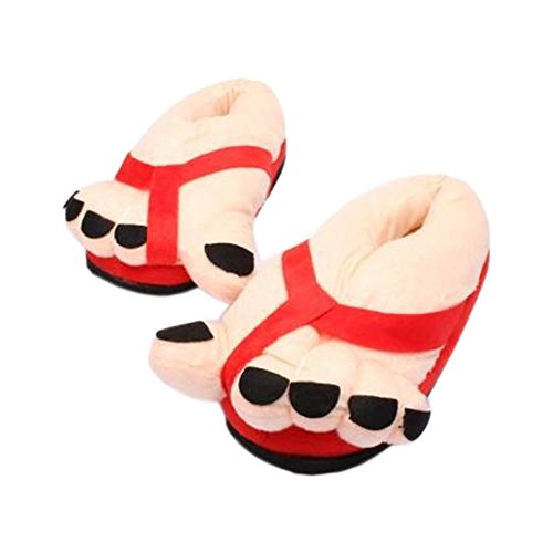 Gift Red Warm Toe Maybest Big Funny Cotton Lovers Plush Winter Slippers Home Indoor Shoes Novelty wgxO6q