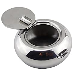 Ashtray, Newness Stainless Steel Modern Tabletop Ashtray With Lid,  Cigarette Ashtray For Indoor Or