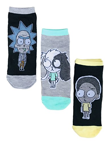 Rick and Morty Television Show Characters Three Pack Men's Novelty Ankle Socks