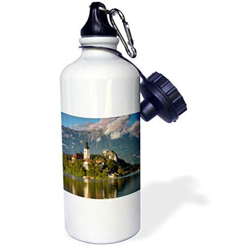 3dRose Danita Delimont - Slovenia - St. Marys Church on Bled Island with Bled Castle, Slovenia. - 21 oz Sports Water Bottle (wb_313883_1)