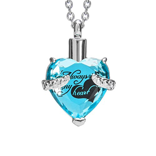 SmartChoice Keepsake Rhinestone Necklace Heart Pendant for Cremation Ashes with Beautiful Presentation Gift Box, Elegant Memorial Jewelry with Stainless Chain and Accessories, (Blue) (Charm Pendant Etched Picture)