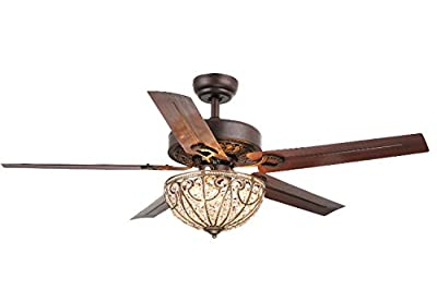 "Whse of Tiffany CFL-8111 Catalina 3-Light Bronze-Finished 5-Blade 48"" Crystal Ceiling Fan"