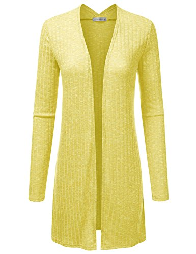 JJ Perfection Women's Long Sleeve Open Front Marled Knitted Cardigan Sweater Yellow - Cardigan Womens Knit Ribbed
