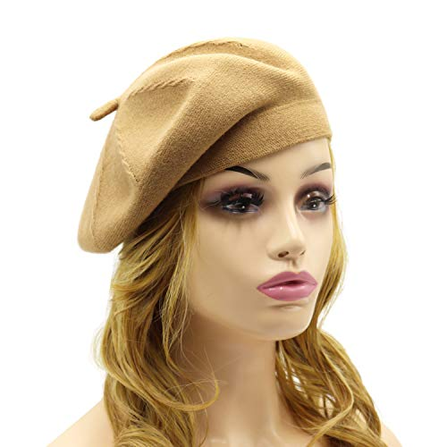 French Beret Hat,Reversible Solid Color Cashmere Beret Cap for Womens Girls Lady Adults (Camel1) ()