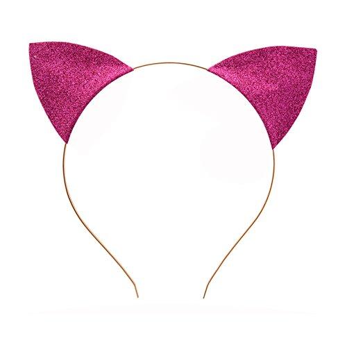 Merroyal Glitter Cat Ears Headband Halloween Fancy Dress Cat Woman Hairband Cosplay (Rose) (Cat Headband For Halloween)