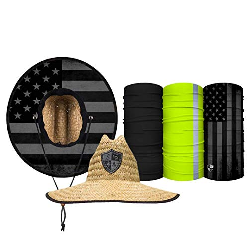 S A Straw Hat Pack - Blackout American Flag Underbrim Straw Hat for Men and Straw Hat for Women - UPF 50+ Sun Hats and 3 Face Shields Beige