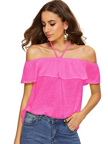 - Romwe Women's Summer Halter Off Shoulder Flounce Top Blouse Shirts Hot Pink M