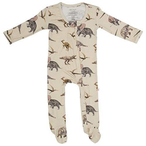 Posh Peanut One Piece Elegant Baby Romper Buttery Soft & Breathable Viscose from Bamboo - Premium Knit Baby Girl Clothes (Vintage Dino, 3-6 Months)