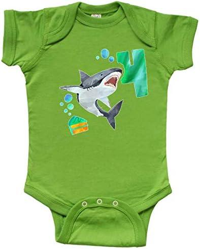 inktastic Third Birthday Shark with Cake Infant Creeper