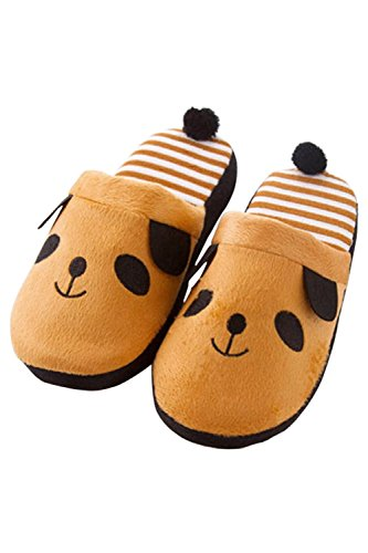 1 Pair of Women Men Couples Lovers Warm Cartoon Animal Panda Pattern Winter Indoor Bedroom Home Slippers Shoes 38-39 Size White Brown