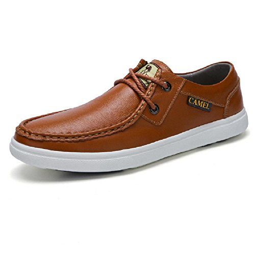 Camel Mens Leather Skate Shoes Brown
