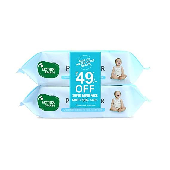 Mother Sparsh 99% Pure Water (Unscented) baby wipes I Natural Plant made cloth - Super thick I 72 pcs/pack - Pack of 2