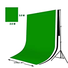Studio-98 Pro 11 ft Wide x 8.5 ft High Metal Background Stand and Three 8.2 ft W x 10 ft L Heavy Weight Backdrops Black White and Green Muslin Package for Photography Video