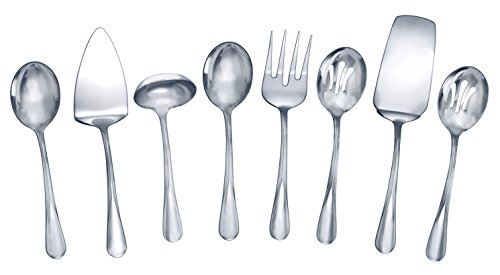 Serving Flatware - Gourmet Basics by Mikasa 5181046 Kaylee 8-Piece Stainless Steel Hostess Serving Utensil Set