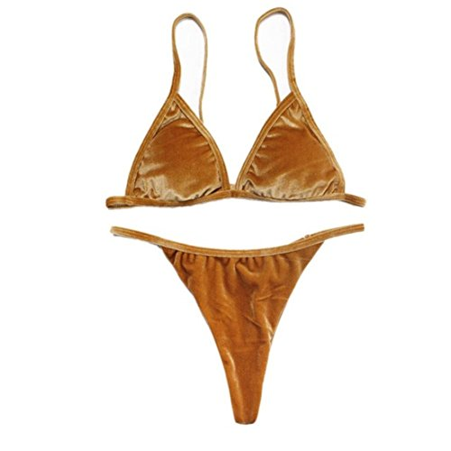 Women's Halter Seamless Adjusted strap Swimsuit Gold