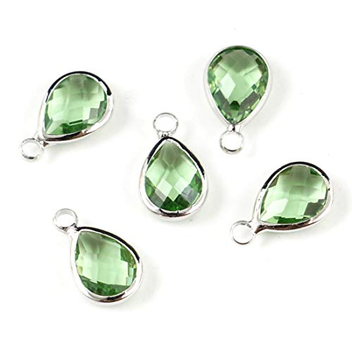 (30pcs August Peridot Green Birthstone Charms 14x8mm Teardrop Crystal Beads Silver Plated Brass for Jewelry Craft Making CCP15-8)