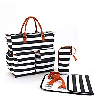 Designer 3-in-1 Tote Diaper Bag Set, Fashionable Striped Black & White Design with Many Pockets (Includes Changing Pad, Insulated Bottle Holder, Shoulder and Stroller Straps)