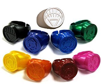 Green Lantern Blackest Night / Brightest Day Set of 9 Power Rings White/Red/Orange/Yellow/Green/Blue/Indigo/Violet/Black by DC Comics ()