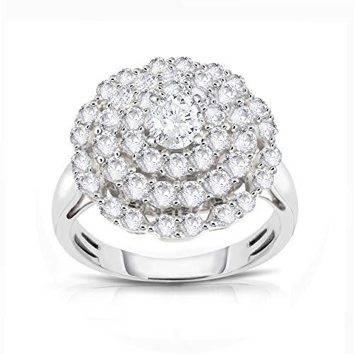 NATALIA DRAKE 14K White Gold Halo Flower 2.0 Carat Wow Geniune Diamond Round Ring (G-H, I1-I2) ()