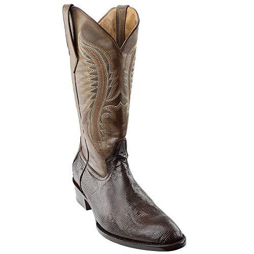 Ferrini Men's Lizard Belly Western Boot Medium Toe Chocolate 10.5 D