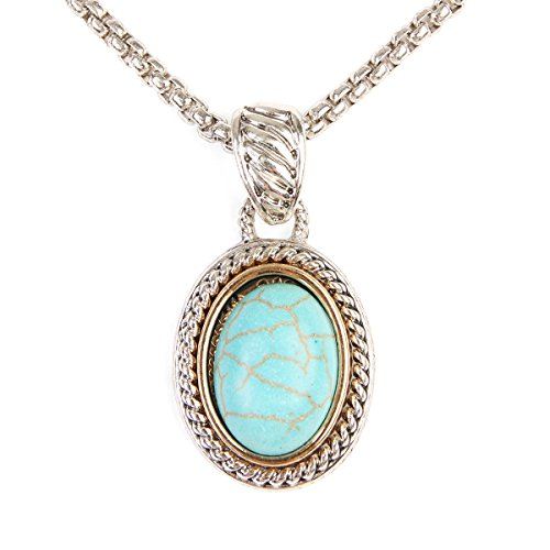 MYS Collection Bohemian Stabilized-Turquoise Pendant Necklace - Classic Byzantine Rope Chain Oval, Circle, Teardrop Charm (Oval)