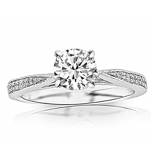 (0.65 Ctw Round Tapered Pave Platinum Diamond Engagement Ring (D-E Color SI2 Clarity 0.5 Ct Center))