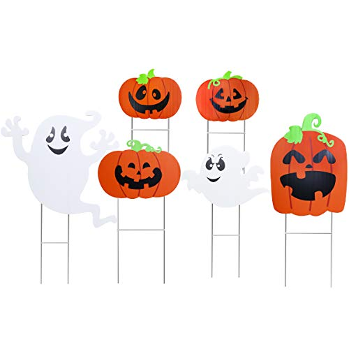 Amosfun Halloween Yard Sign Cute Pumpkin Ghost Decoration Lawn Decoration Signs for Outdoor Halloween Yard Decorations, 6 Pack -