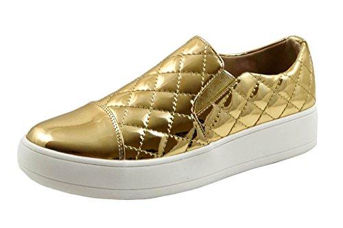 Glasur Shopaegis - [trendy Joggesko] Skinnende Tekstil Komfortabel Street Danser Aurlandssko [størrelse 5.5, 6, 6.5, 7, 7,5, 8, 8,5, 9, 9.5,10] Gull