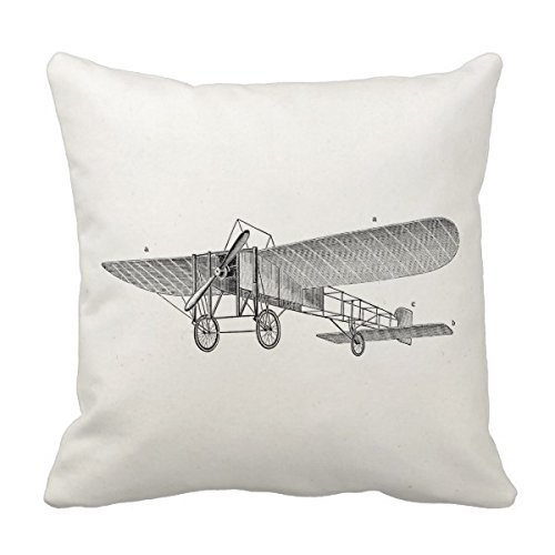 Decors Vintage Propeller Airplane Retro Old Prop Plane Pillow Case Cushion Cover Home Sofa Decorative 16 X 16 Squares Case Cushion Cover Home Sofa Decorative 16 X 16 Squares (Twin Sides) (Propeller Airplane)