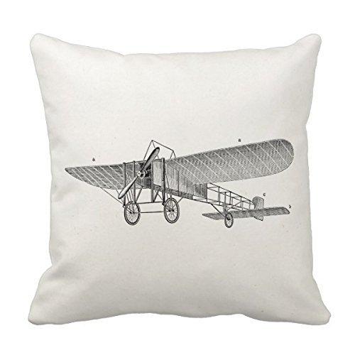 Decors Vintage Propeller Airplane Retro Old Prop Plane Pillo