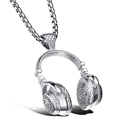 (RMXMY Rock Style Music Headphones Big Pendant Necklace Titanium Steel Men and Women Personality Couple Models Sweater Chain Hip hop (Color : Silver))