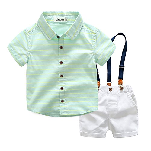 Suspender Outfits for Toddler Boys 2Pcs Woven Short Shirt and White Shorts with Straps Casual Suit