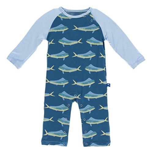 Raglan Dolphins (KicKee Pants Bamboo Long Sleeve Raglan Romper (18-24 Months, Twilight Dolphin Fish))