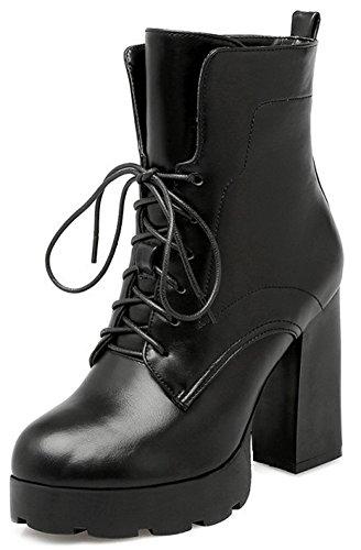 Easemax Women's Dressy Round Toe Lace Up Block High Heeled Platform Ankle Booties Black EKSpXi9