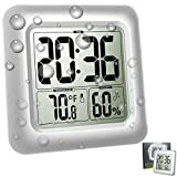 Digital Shower Bathroom Clock, Large Waterproof Mirror Clock Thermometer Hygrometer Temperature Humidity Gauge, 4 Strong Suction Cup, Big Time Display, Wall Hanging or Table Stand - Silver