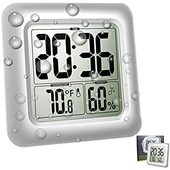 Large Waterproof Wall Clock for Shower Bathroom, Digital Mirror Clock Bath Thermometer Hygrometer Temperature Humidity Gauge, 4 Strong Suction Cup, ...