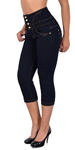 d8ab905bf94079 ESRA Damen Capri Hose Hochbund Caprihose Kurze Jeans Hose High Waist Capri  bis Übergröße J353 J354