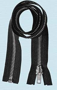 "ZipperStop Wholesale Authorized Distributor YKK® 27"" Jacket Zipper ~ YKK #5 Aluminum Metal ~ Medium Weight YKK Zipper ~ Separating Bottom ~ Black (1 Zipper)"