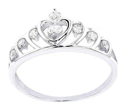 Psiroy 925 Sterling Silver Cubic Zirconia Princess Crown Tiara CZ Band Rings