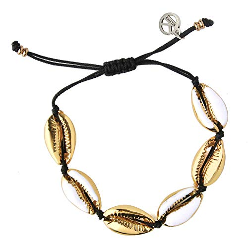 (KELITCH Natural Shell Gold Shell Cowry Beaded Friendship Bracelets Boho Fashion Beach Seashell Strand Bracelets Women Jewelry (White))