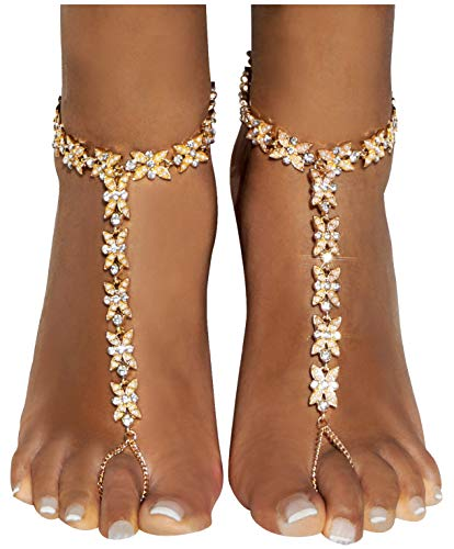 Bienvenu 2 PCS Gold Imitation Pearl Mini Flower Decor Beach Wedding Ankle Bracelet Toe Ring Anklets, Golden Style 2