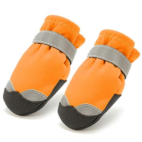 B 4 De m Antideslizantes Ecológico Mascota Complimentos Blesiya Rojo Color Zapatos m Duradero Brillante Botas Perros Naranja Pcs FFwUrq