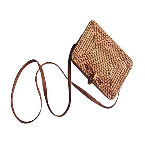(Clearance Sale!DEESEE(TM)Handwoven Bali Retro Rattan Rattan Bag Straw Beach Bag Crossbody (A))