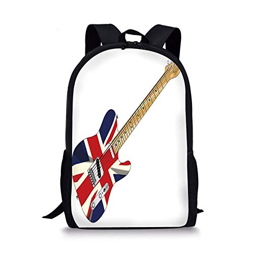 School Bags Union Jack,Classical Electric Guitar UK Flag Great Britain Music Instrument Decorative,Light Brown Silver Black for Boys&Girls Mens Sport Daypack ()