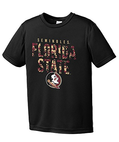 NCAA Youth Boys Digital Camo Mascot Short Sleeve Polyester Competitor T-Shirt, Florida State Seminoles, Black - Youth X-Large