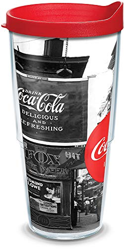 Tervis 1095164 Coca-Cola - Vintage Photo Insulated Tumbler with Wrap and Red Lid, 24oz, -