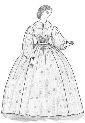 Victorian Costume Dresses & Skirts for Sale  1863 Sheer Dress Pattern                               $14.25 AT vintagedancer.com