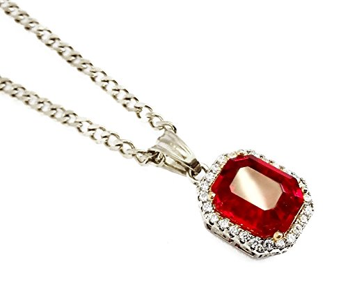 Exo Jewel Octagon Ruby Pendant Stainless Steel Necklace with 24